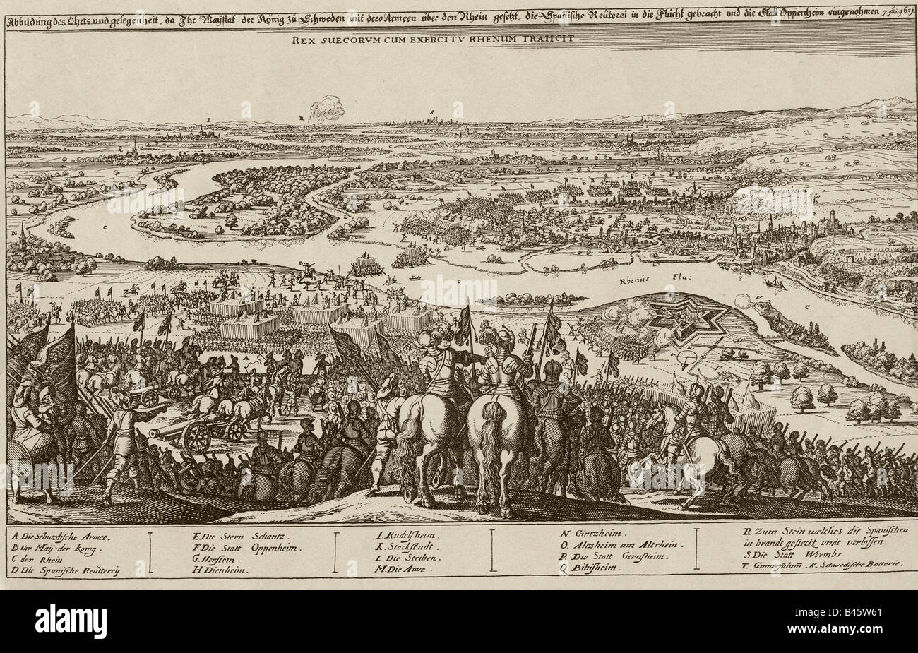 events, Thirty Years War 1618 - 1648, Swedish intervention 1630 - 1635, Swedish army crossing the Rhine at Oppenheim Stock Photo