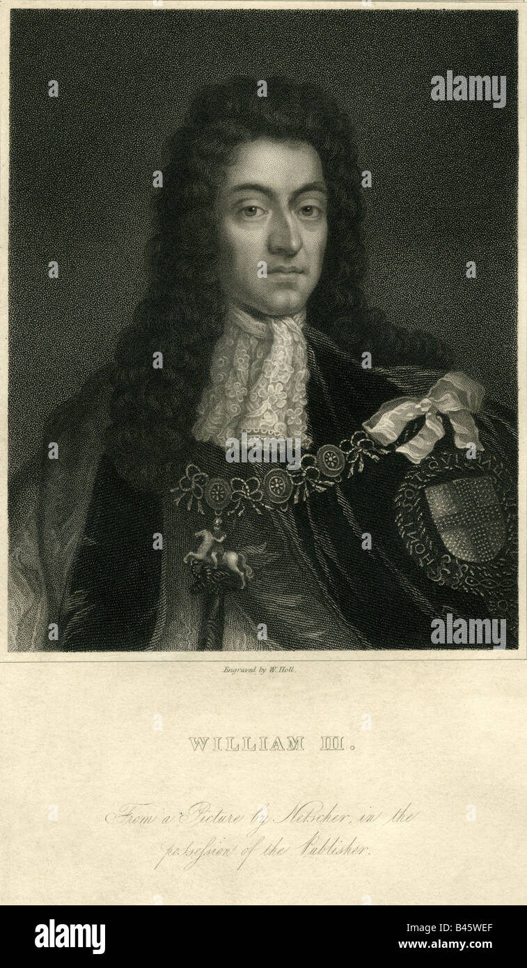 William III of Orange, 14.11.1650 - 19.3.1702, king of England from 13.2.1689 - 19.3.1702, portrait, steel engraving, - Stock Image