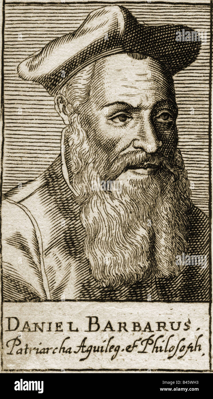Barbarus, Daniel, 1513 - 1574, Italian philosopher, portrait, engraving,  16th century, Italy, 16th century, science, scientist, philosophy, hat,  beard, ...