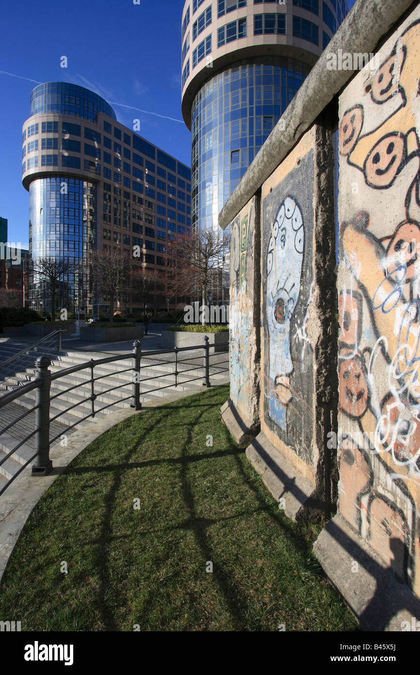 Remains of the Berlin Wall at the Federal Ministry of the Interior, Berlin, Germany - Stock Image