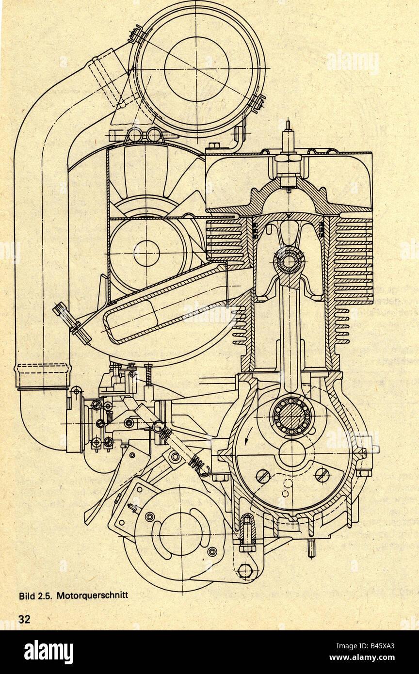 transport, transportation, car, Germany, Trabant, engine, traverse section,  from