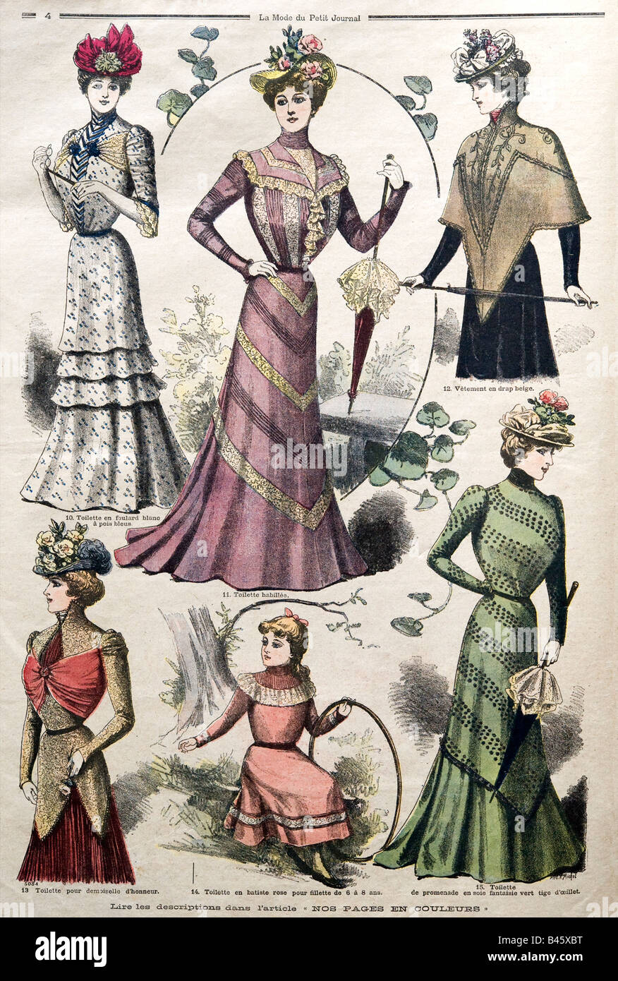 1890s French Ladies Fashion from La Mode du Petit Journal 1899 FOR EDITORIAL USE ONLY - Stock Image