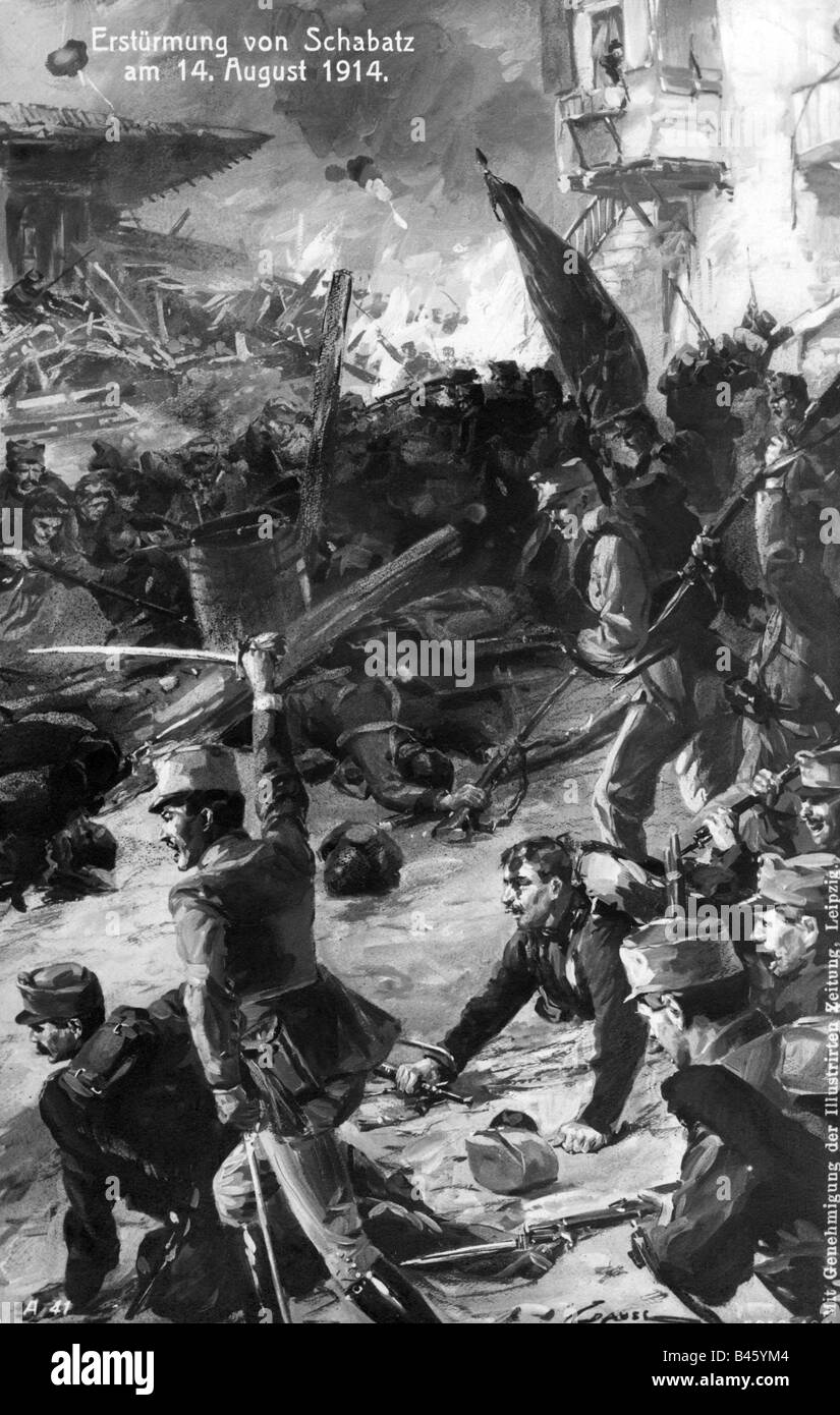 events, First World War / WWI, Balkans, Serbia, storming of Sabac, 14.8.1914, Austrian infantry charching, postcard, - Stock Image