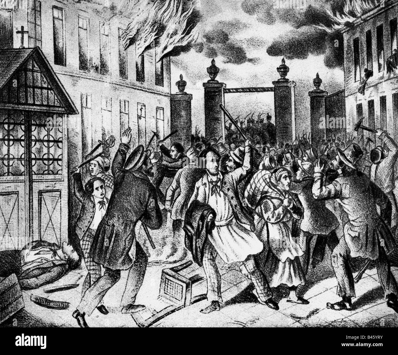 events, revolutions 1848 - 1849, Austria, March Revolution, storming of the Mariahilfer line, Vienna, 13.3.1848, - Stock Image