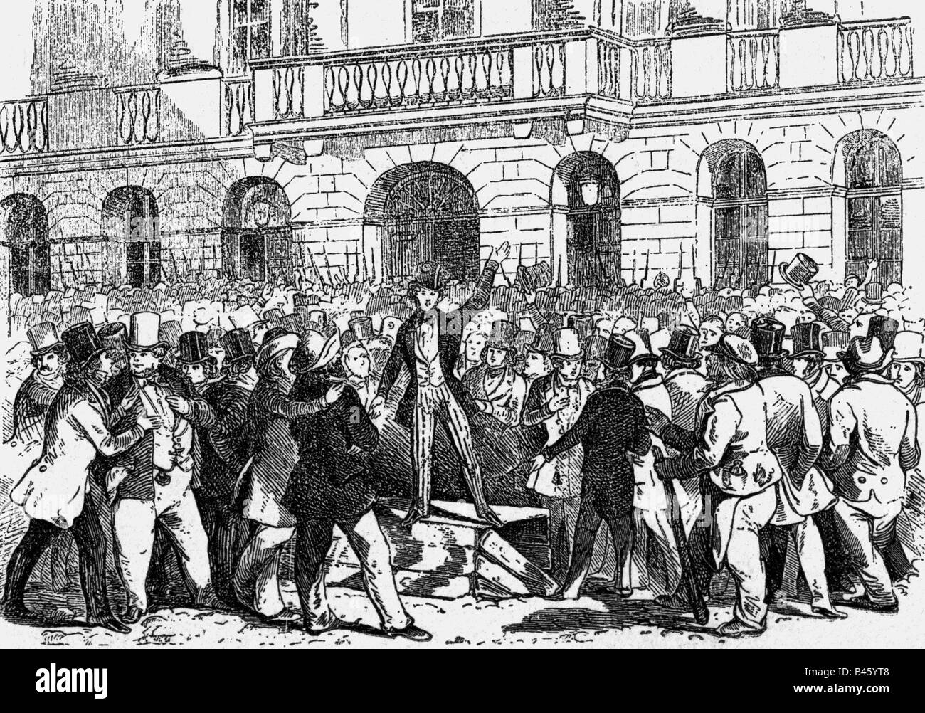 events, revolutions 1848 - 1849, Austria, March Revolution, orator in front of the Estates building, Vienna, 13.3.1848, - Stock Image