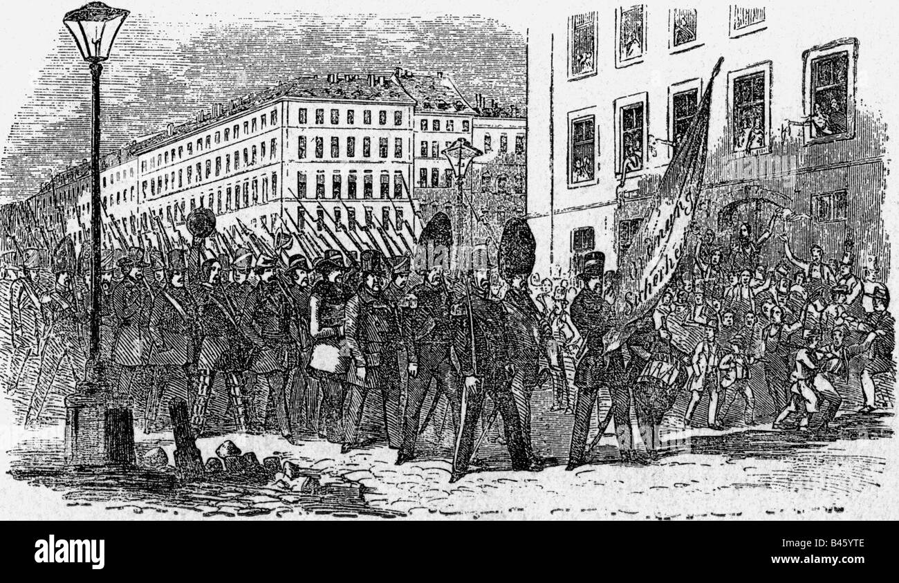 events, revolutions 1848 - 1849, Austria, March Revolution, Vienna National Guard, 14.3.1848, wood engraving, 19th - Stock Image