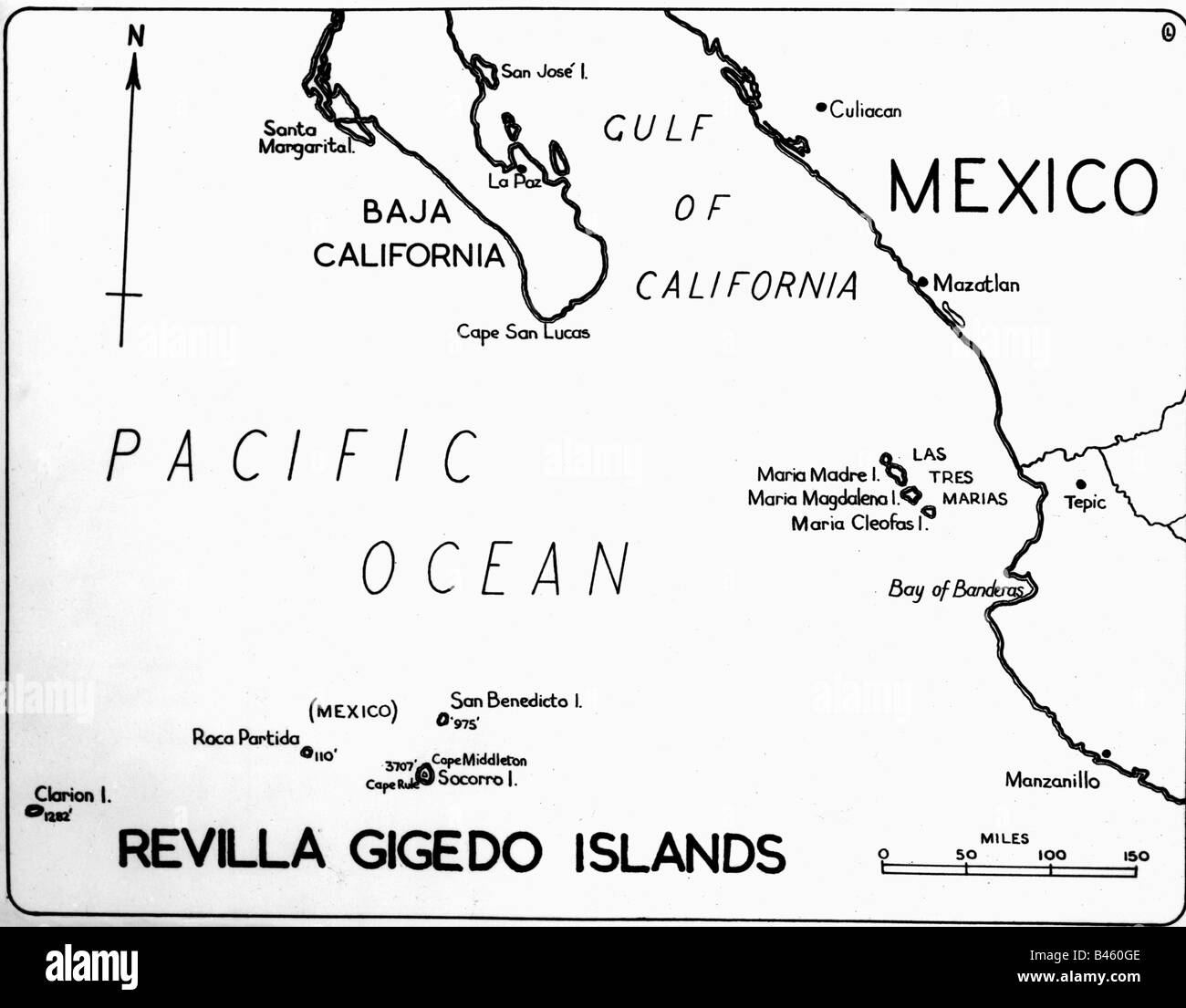 Cartography Maps America Mexico Revilla Gigedo Islands Gulf Of