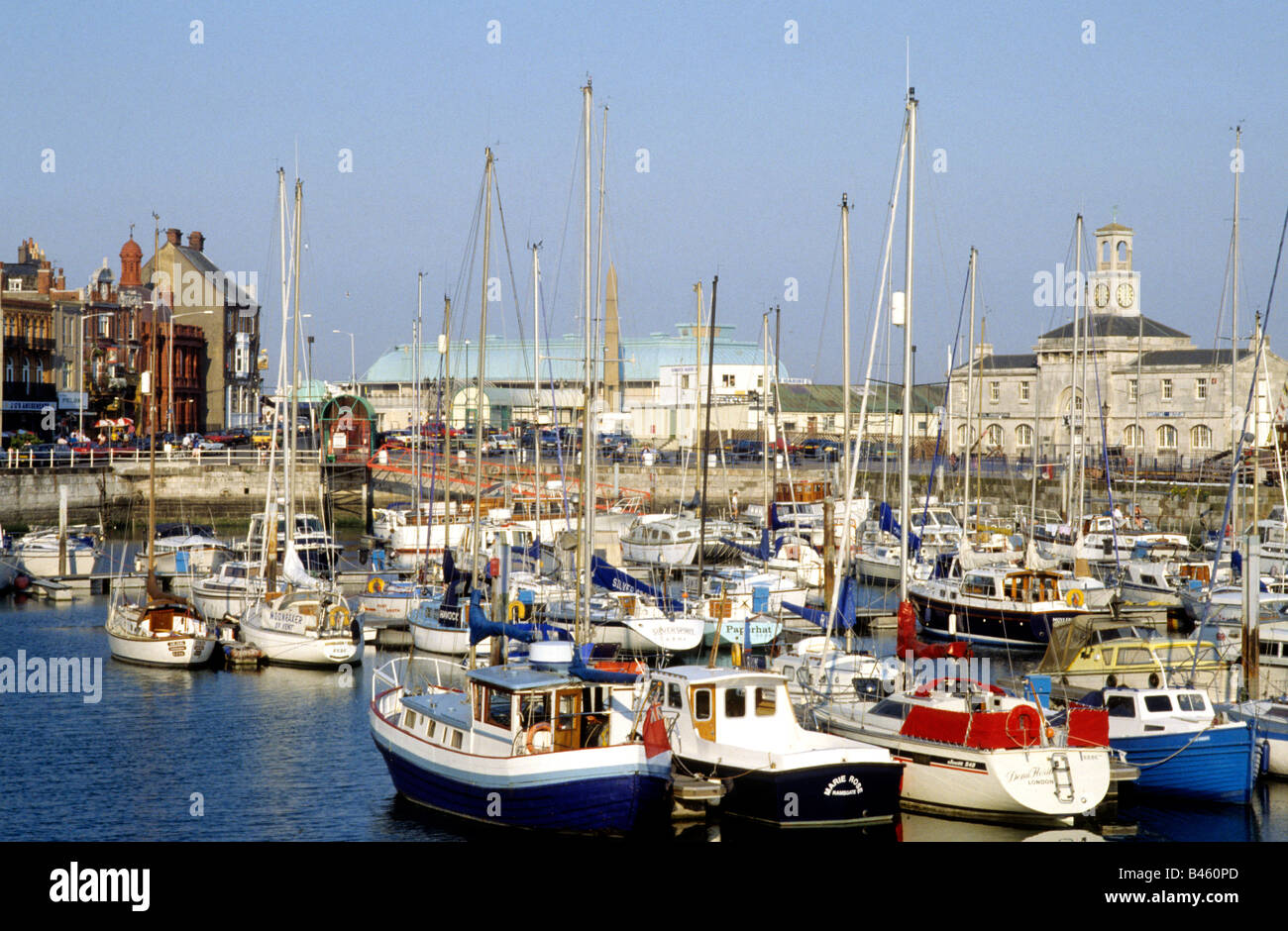 Ramsgate Harbour Marina Kent boats sailing vessels England UK port buildings - Stock Image