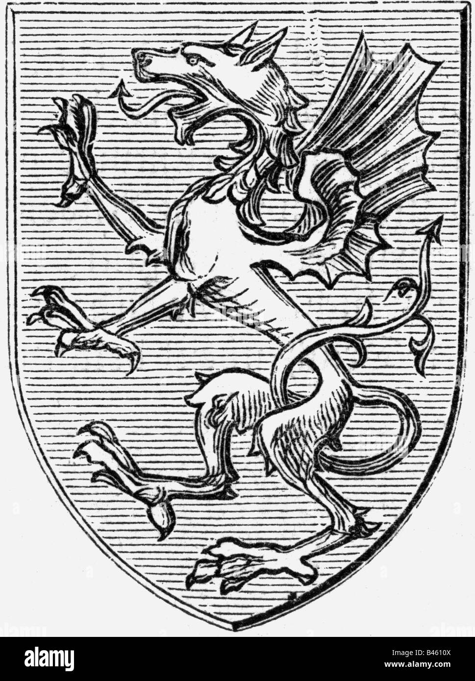 heraldy, coat of arms, charges, medival dragon, wood engraving, 19th century, charge, symbol, dragon, dragons, mythical - Stock Image