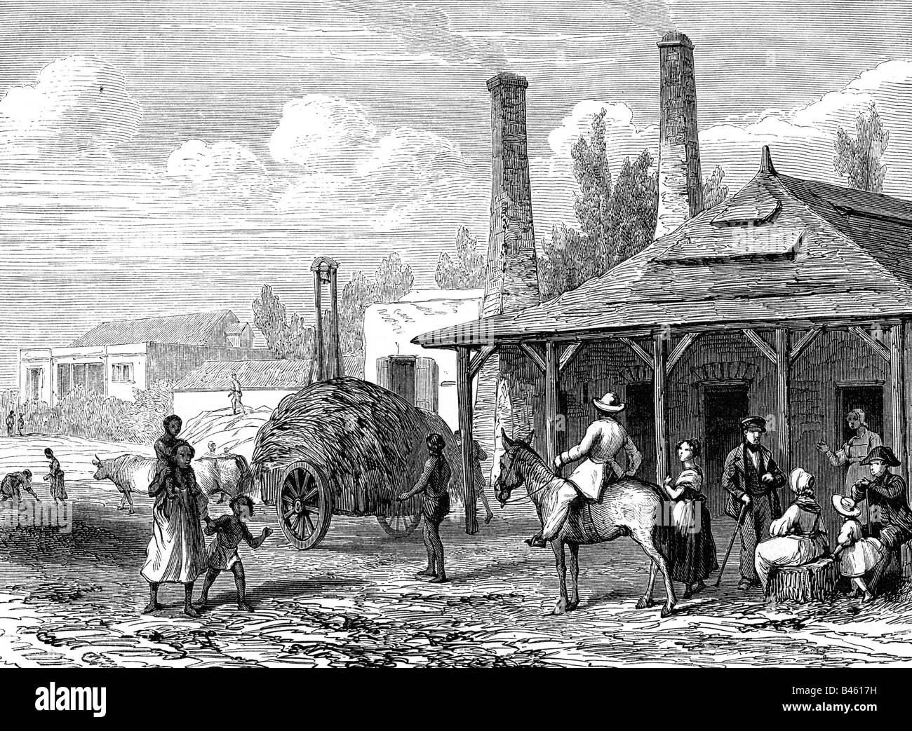 georgraphy / travel, Mauritius, industry, sugar factory, view, wood engraving, 1861, Additional-Rights-Clearances - Stock Image