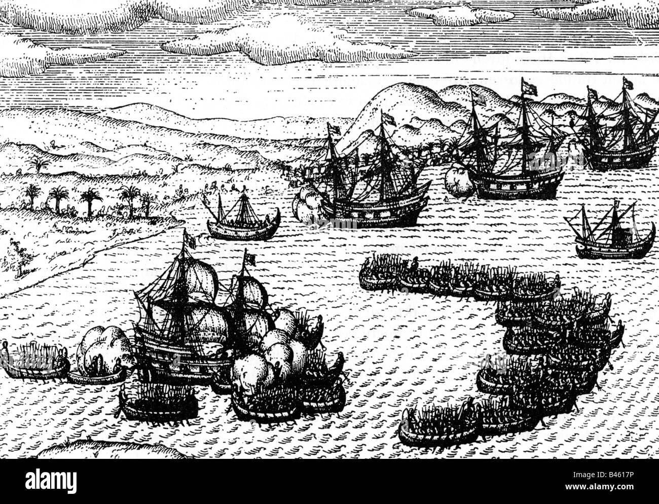 geography / travel, Indonesia, events, naval engagement against the Dutch, copper engraving, 17th century, battle, - Stock Image