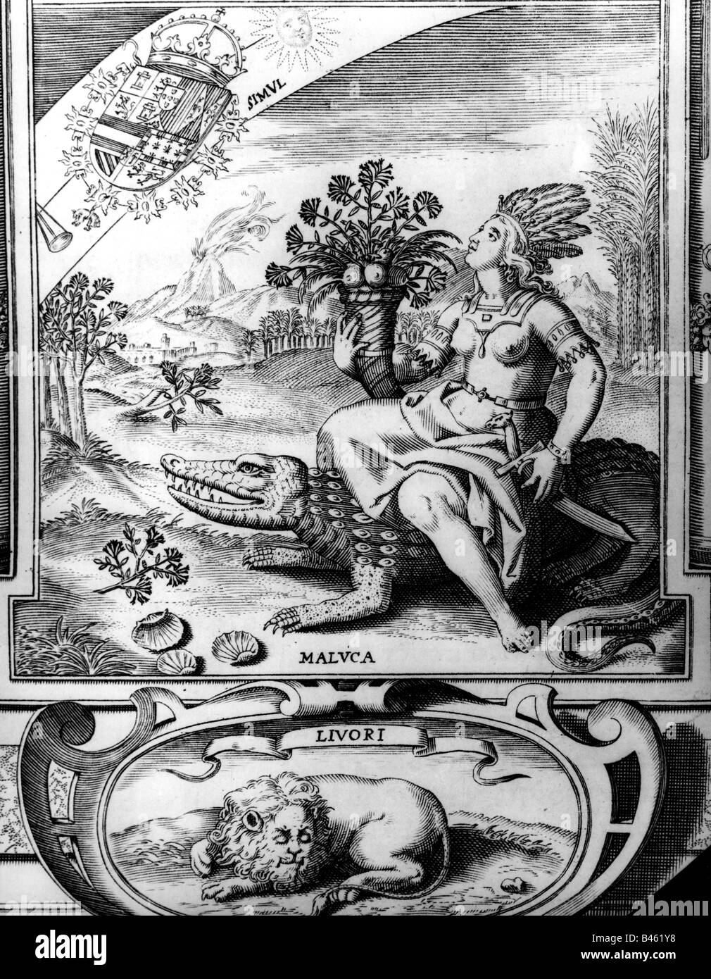 geography / travel, Malaku Islands, allegory on the riches of the islands, Spansh copper engraving, 1609, Additional - Stock Image