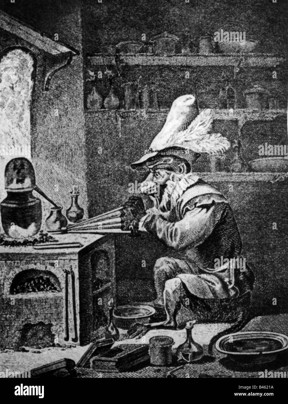 alchemy, alchemists, caricature, alchemist 'donkey',   copper engraving, 17th century, , Additional-Rights - Stock Image