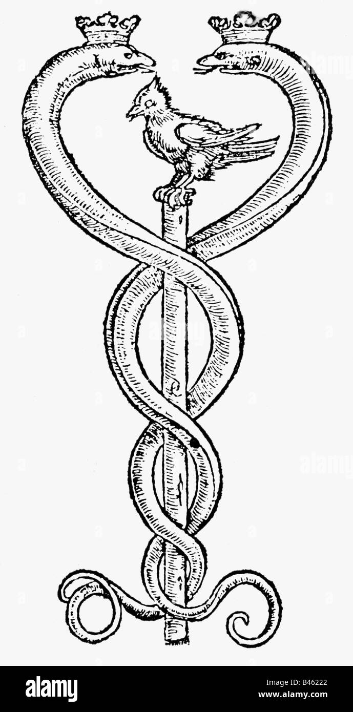alchemy, symbols, Caduceus, copper engraving aftzer drawing by Hans Holbein the Younger, 16th century, symbol, rod, - Stock Image
