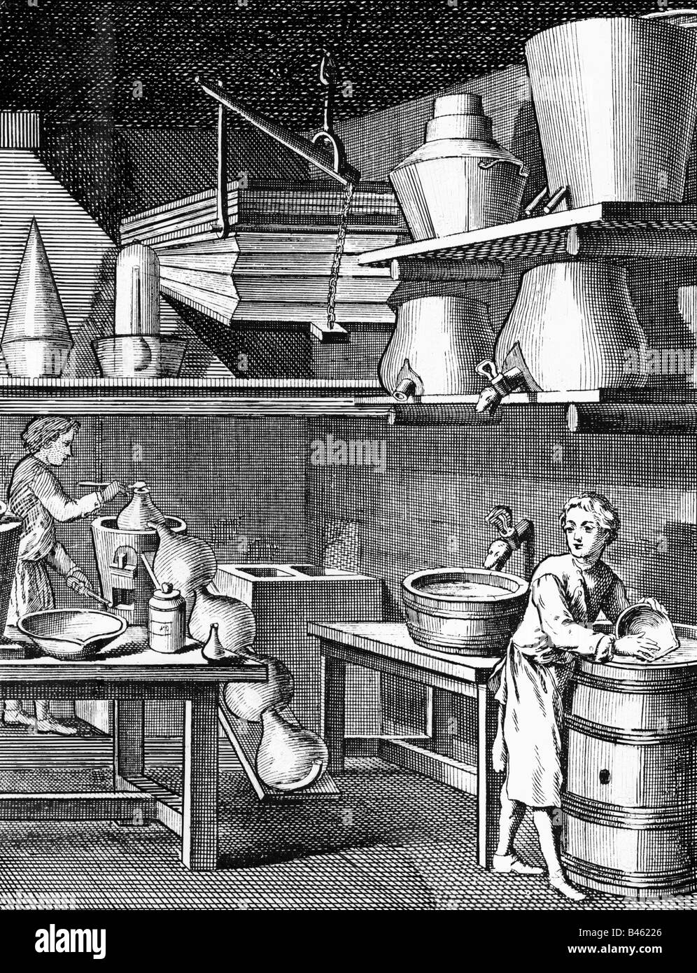 alchemy, laboratories, woodcut, 17th century, Additional-Rights-Clearances-NA - Stock Image