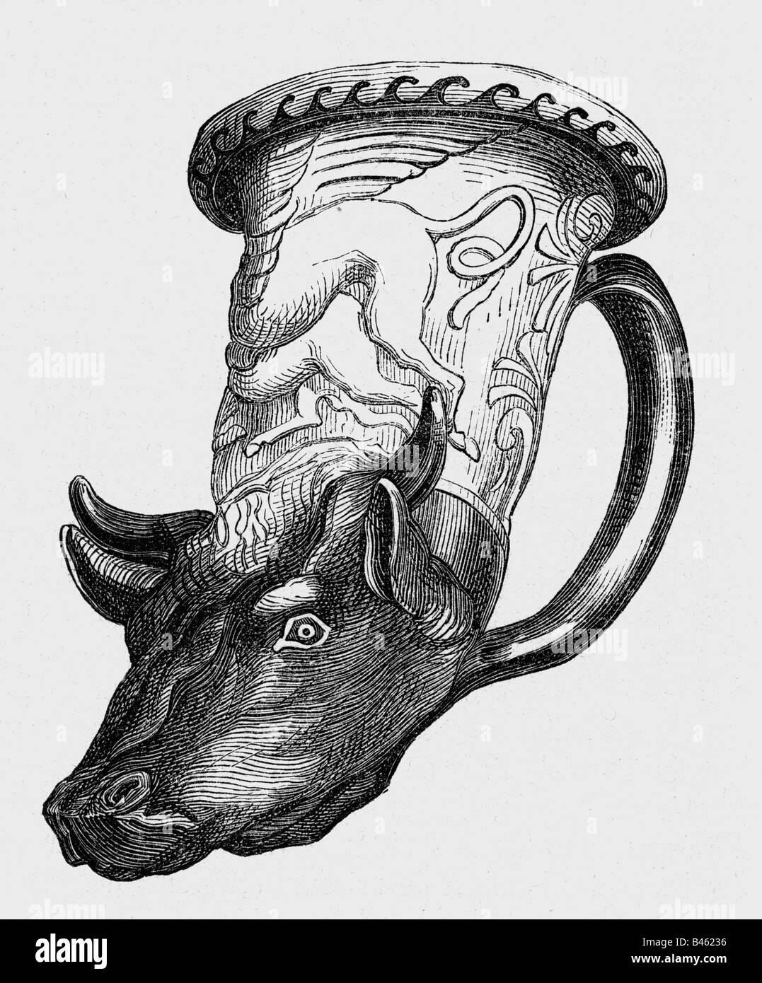 ancient world, Greece, Rhyton, container with bulls head,  antiquity, historic, historical, 19th century, ancient - Stock Image