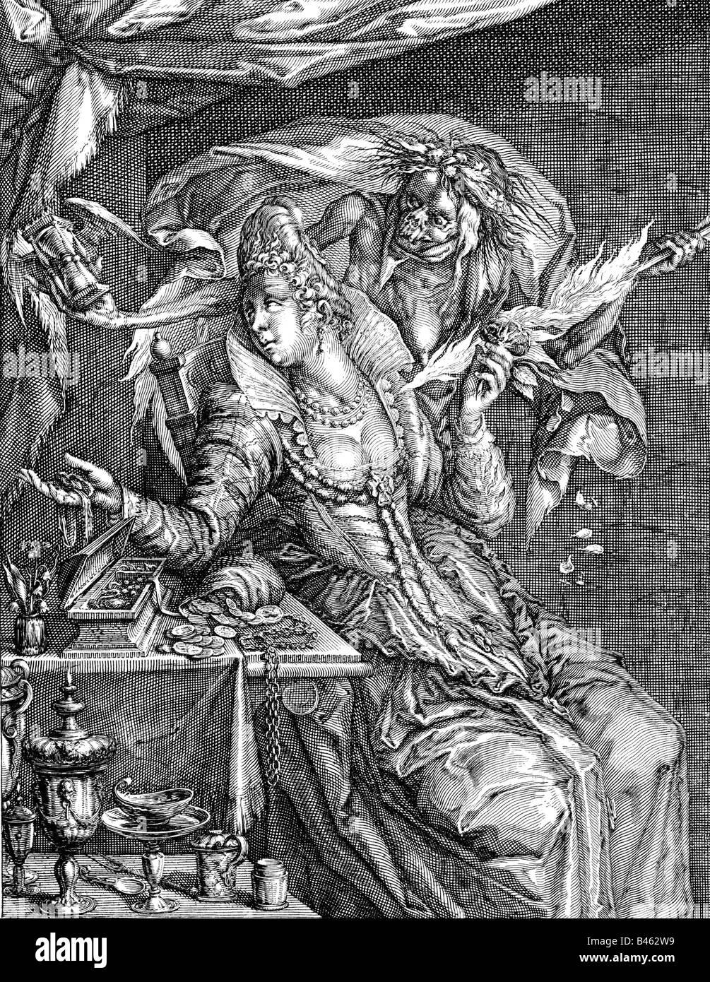 "allegories, vices, ""Vanity"" (Vanitas), copper engraving by Willem Hondius after Jacob de Geyn, Netherlands, 17th Stock Photo"