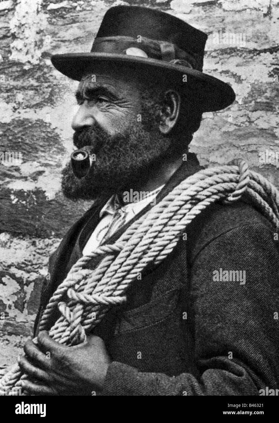 mountaineering, mountain guides, Alexander Burgener, 1846 - 1910, Eisten, Saasertal, photogravure, 1938, mountaineer, - Stock Image