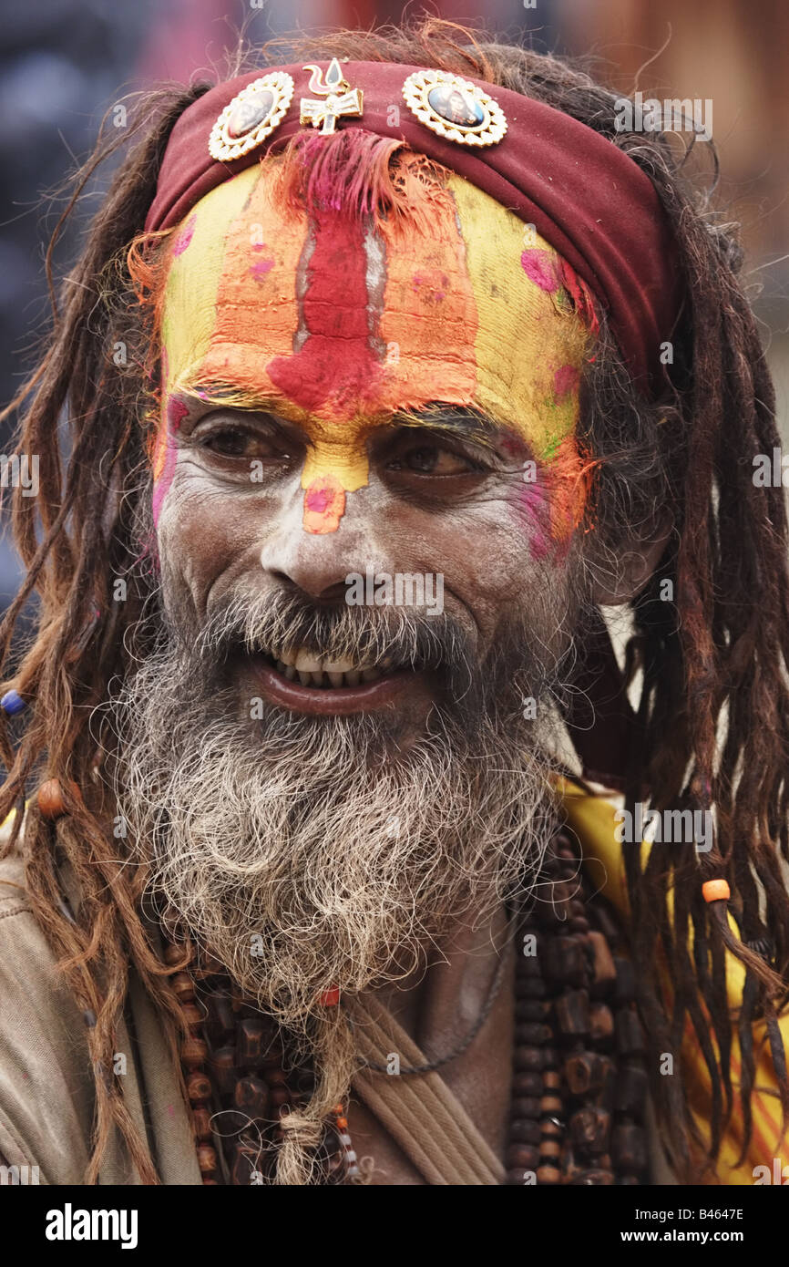 Portrait of a Sadhu holy man in Hinduism Nepal - Stock Image