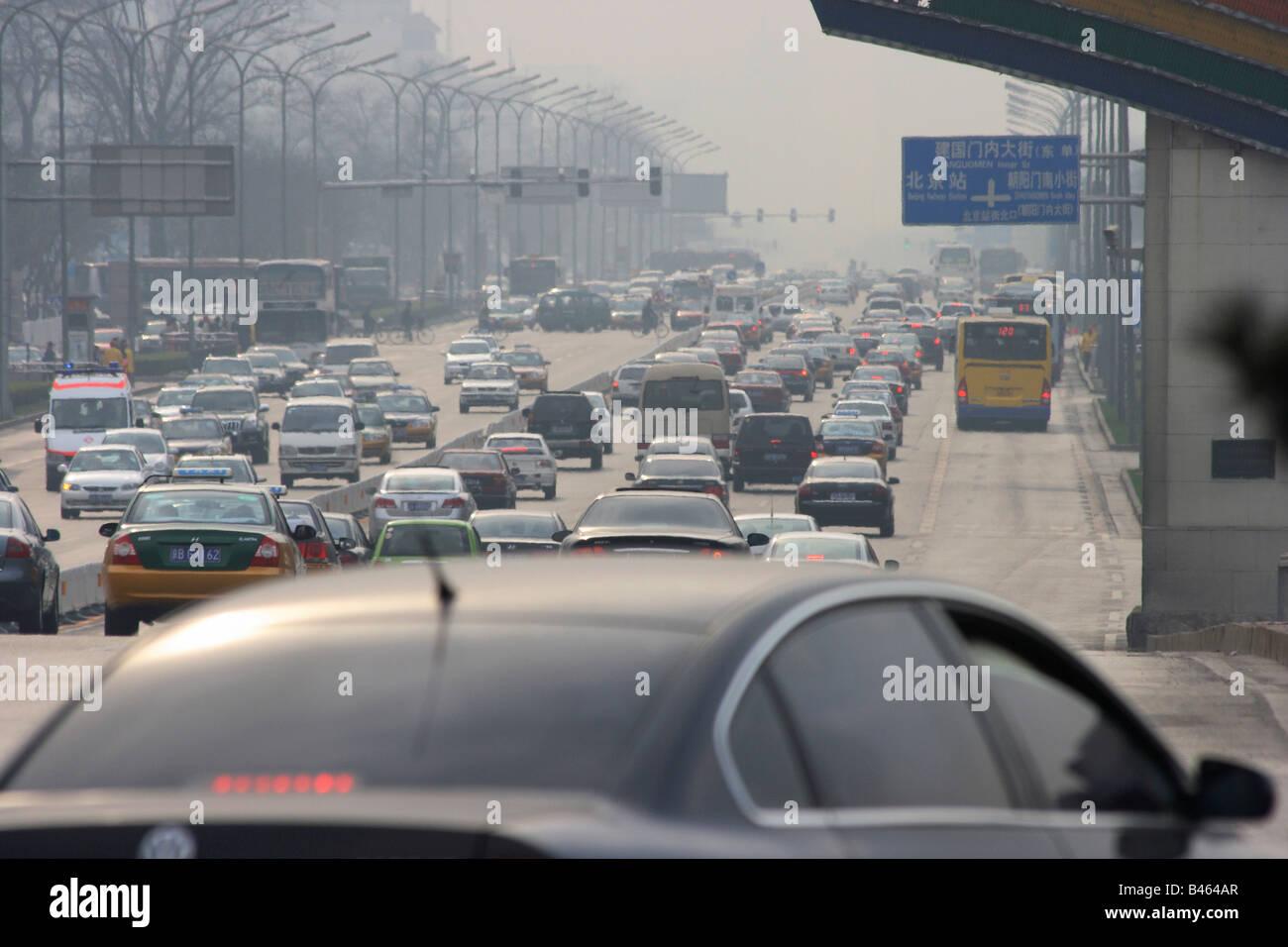 Multilane arterial road, Beijing, China - Stock Image