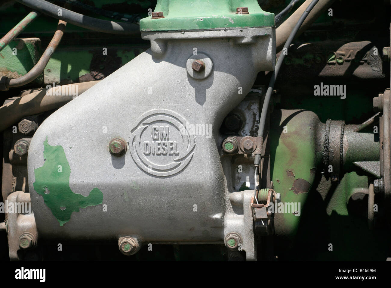 Engine part General Motors diesel engine - Stock Image