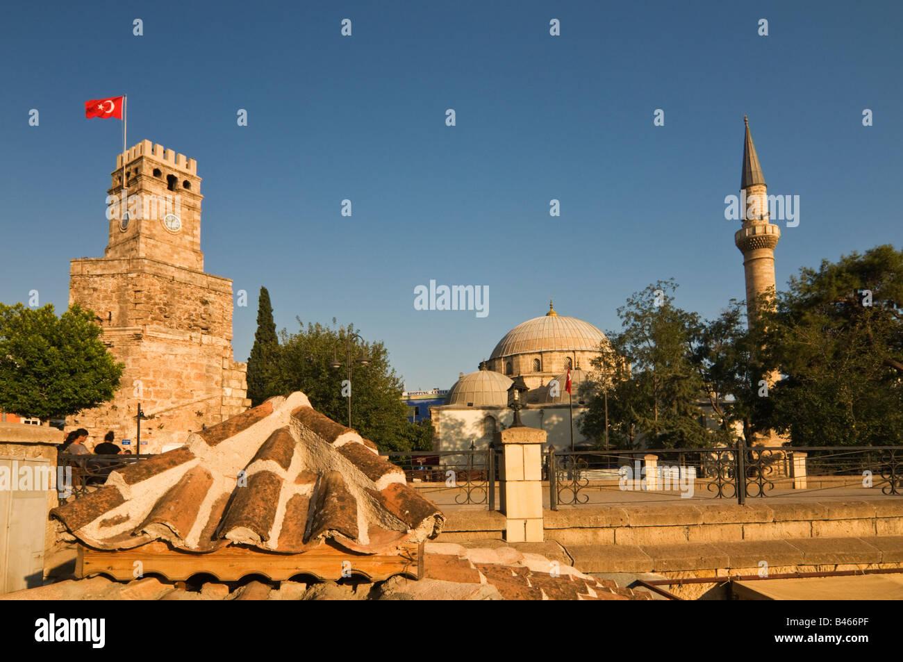 Clock Tower and Mehmet Pasa Mosque Antalya Turkey - Stock Image