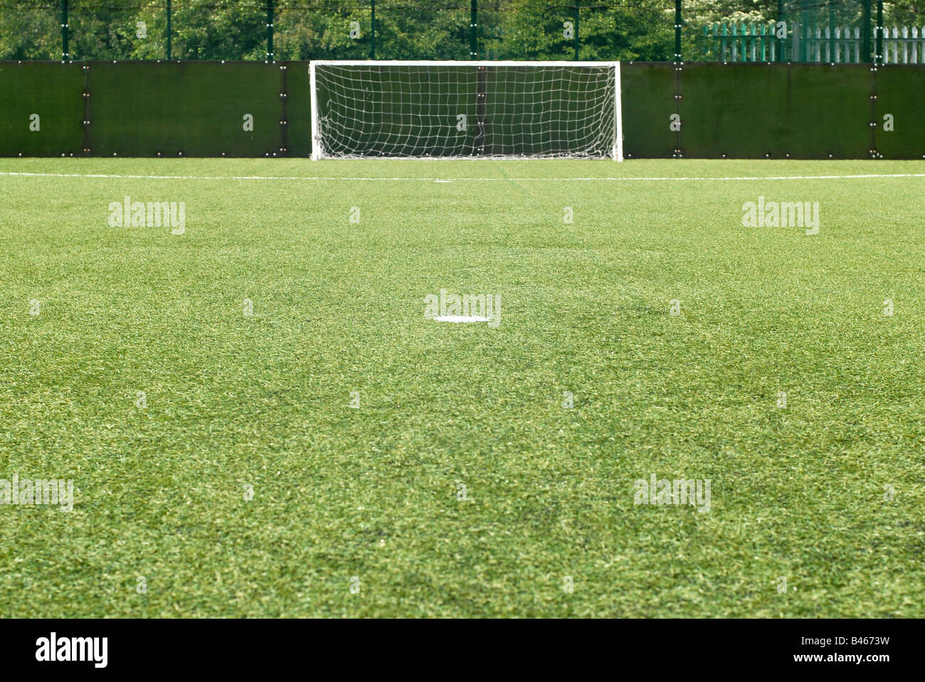 Penalty spot, Astro Turf Football Pitch - Stock Image