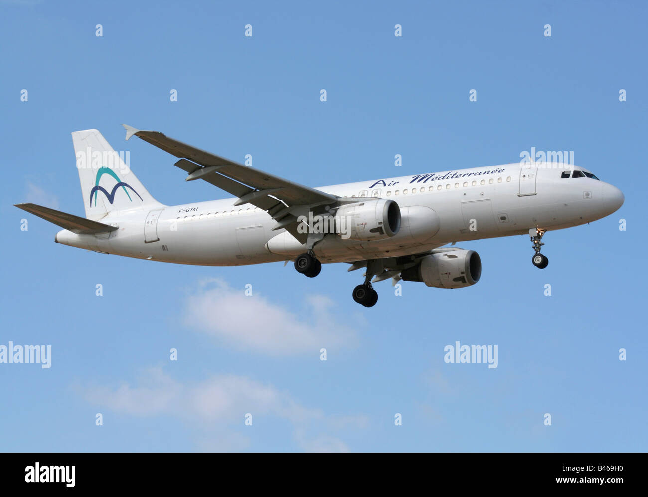 Air Mediterranee Airbus A320 on arrival - Stock Image