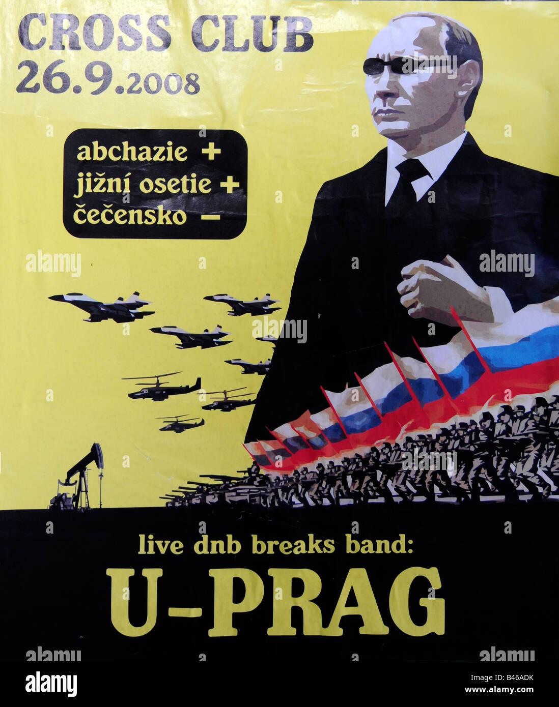 Portrait of Putin as a post-soviet mafia boss launching the Russian army in imperialist war; on an add poster for - Stock Image