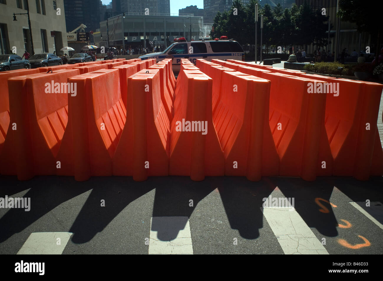 Orange traffic barriers at the World Financial Center in New York on