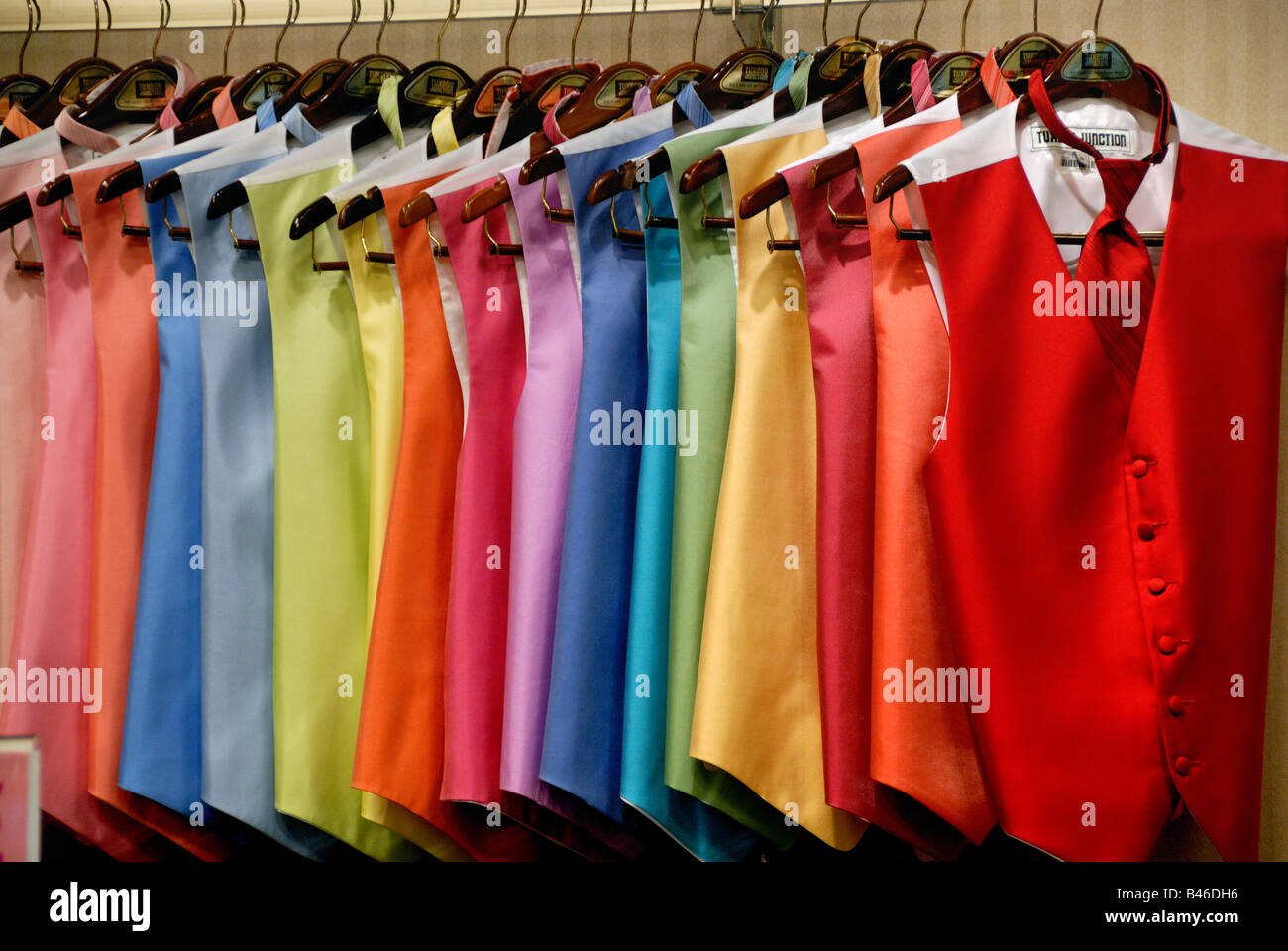 Men's Tuxedo Vests in a Rainbow of Colors - Stock Image