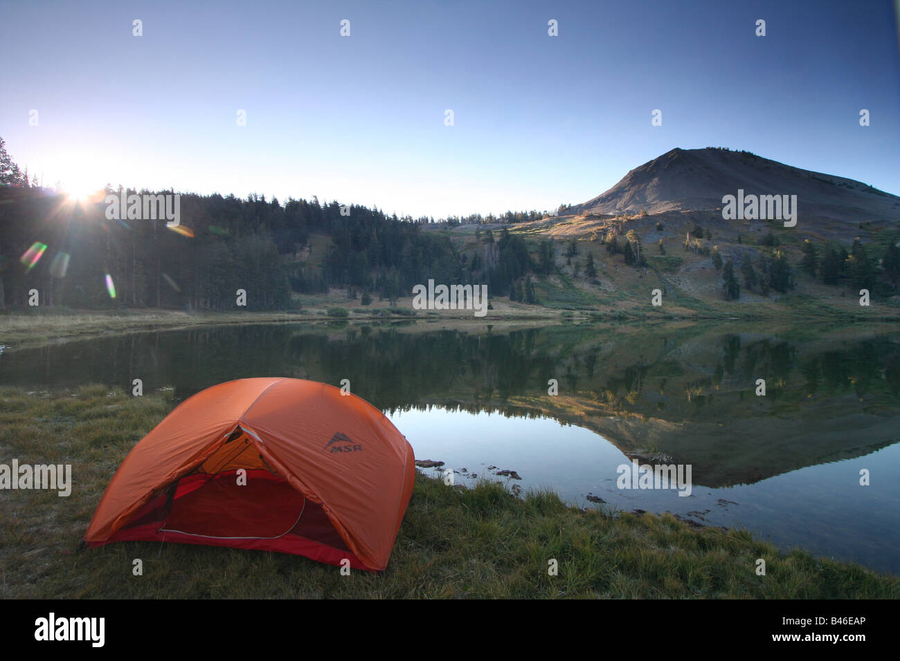 a tent at lower highland lake below hiram peak near the carson-iceberg wilderness of california Stock Photo