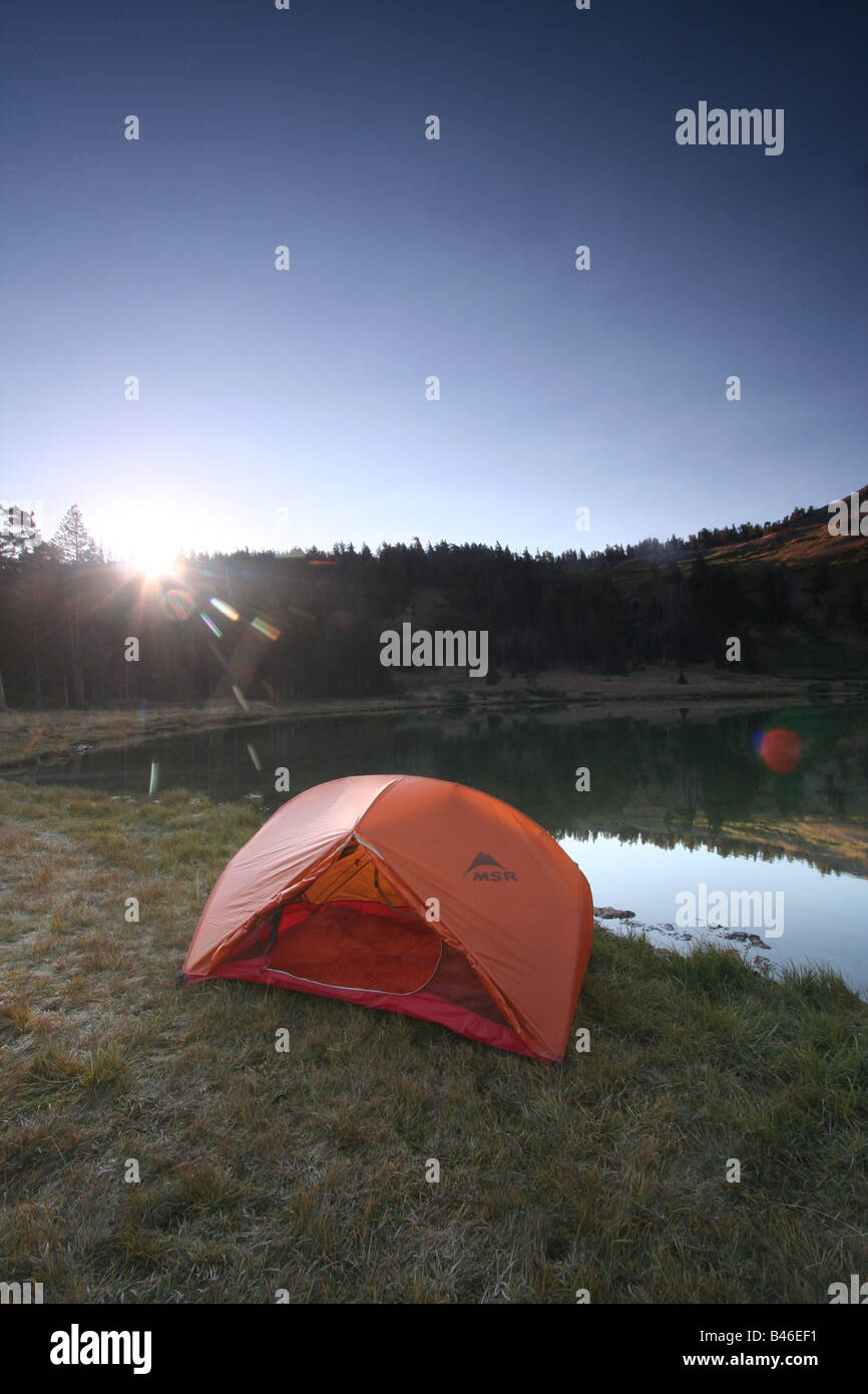 a tent at lower highland lake below hiram peak near the carson-iceberg wilderness of california Stock Photo