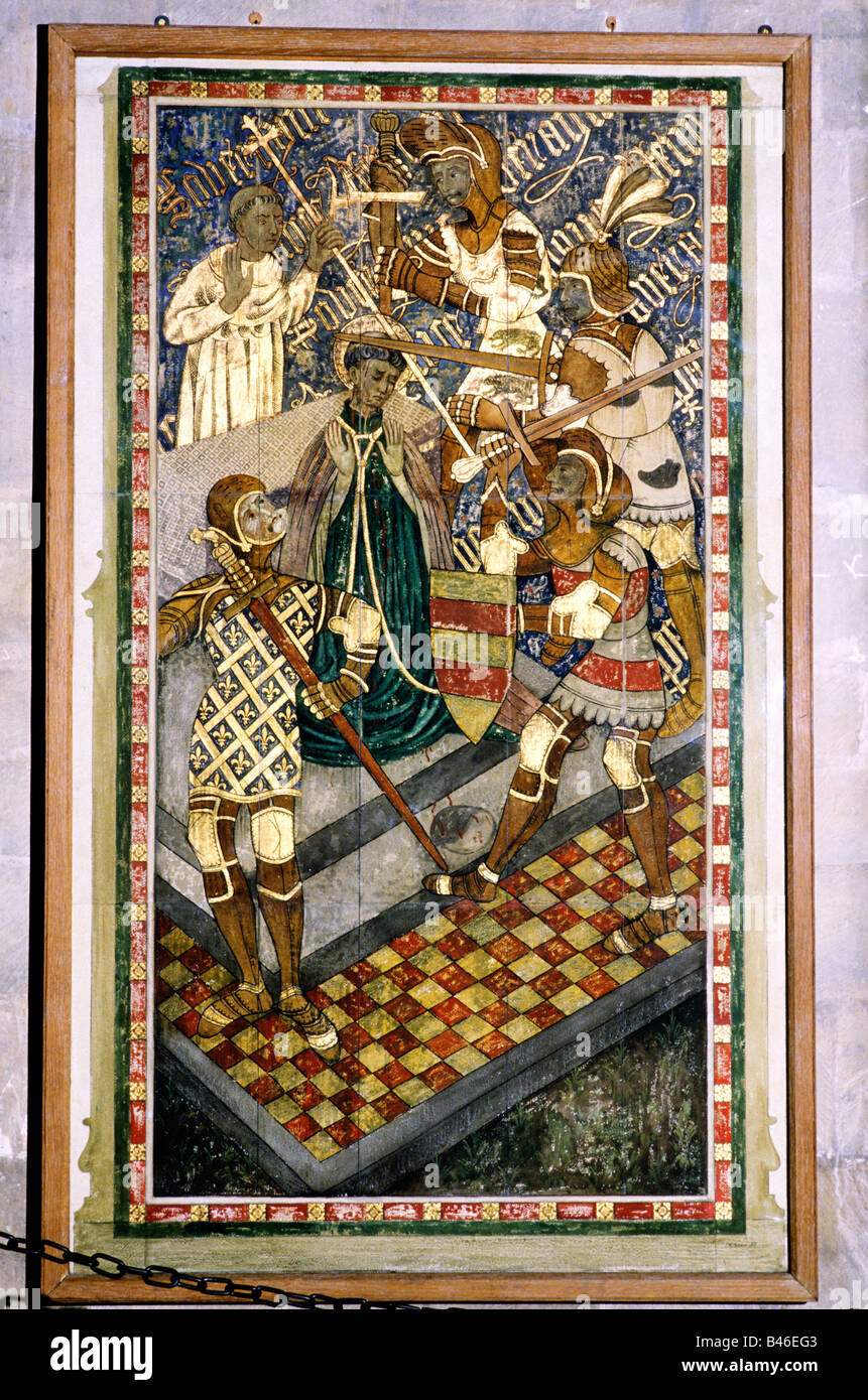 Murder of St Thomas a Becket Canterbury Cathedral Kent painting painted panel martyr martyrdom 1170 Archbishop England - Stock Image