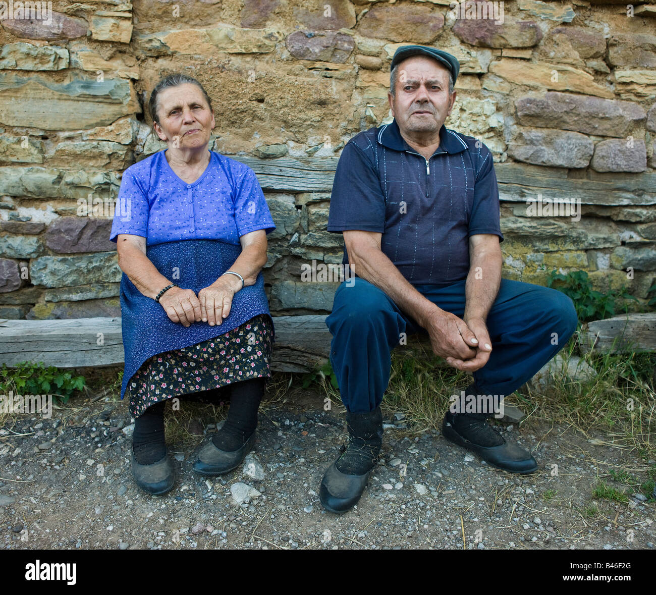An elderly couple in a small village in southern Serbia, near the Bulgarian border - Stock Image
