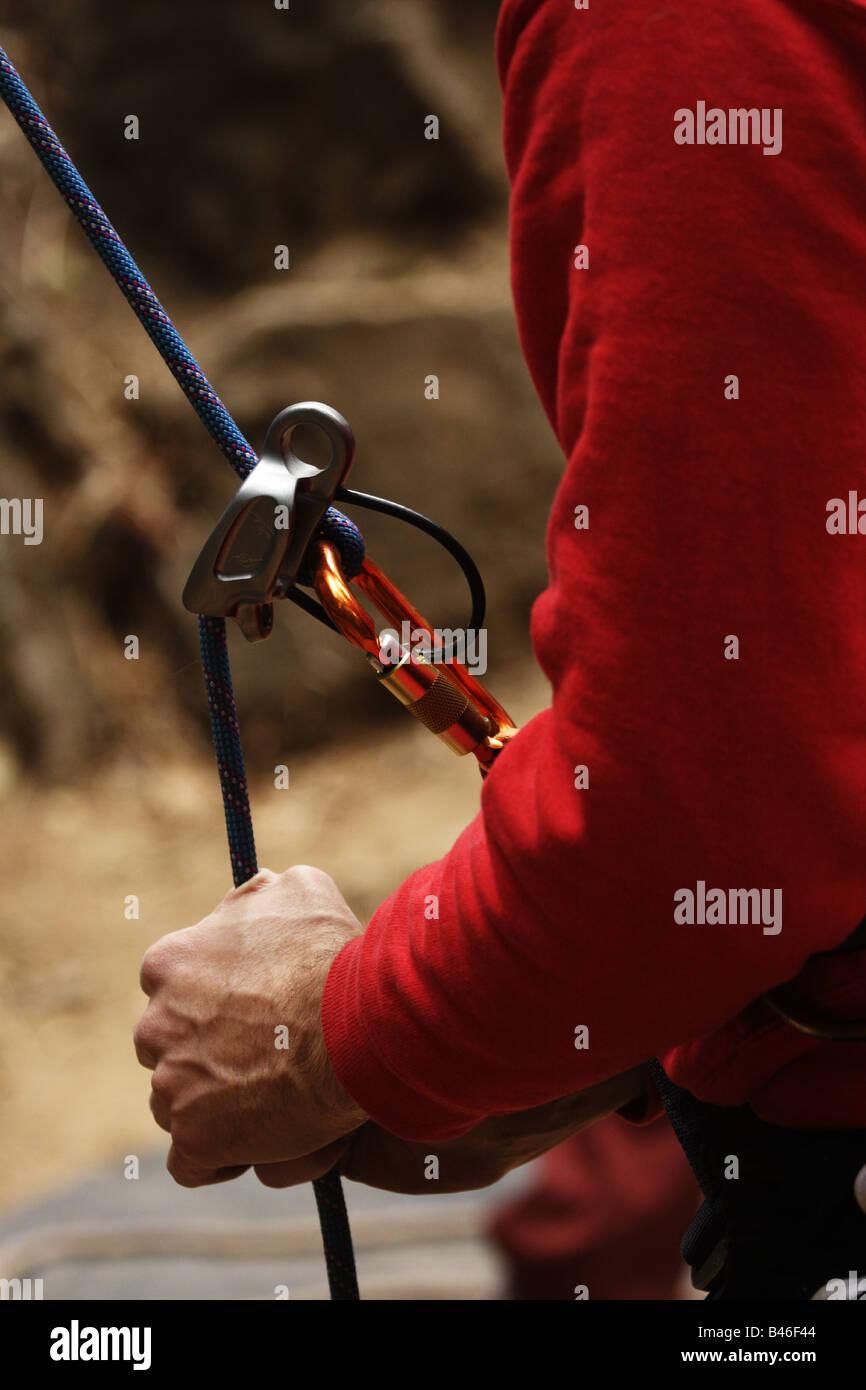 Rope belay - Stock Image