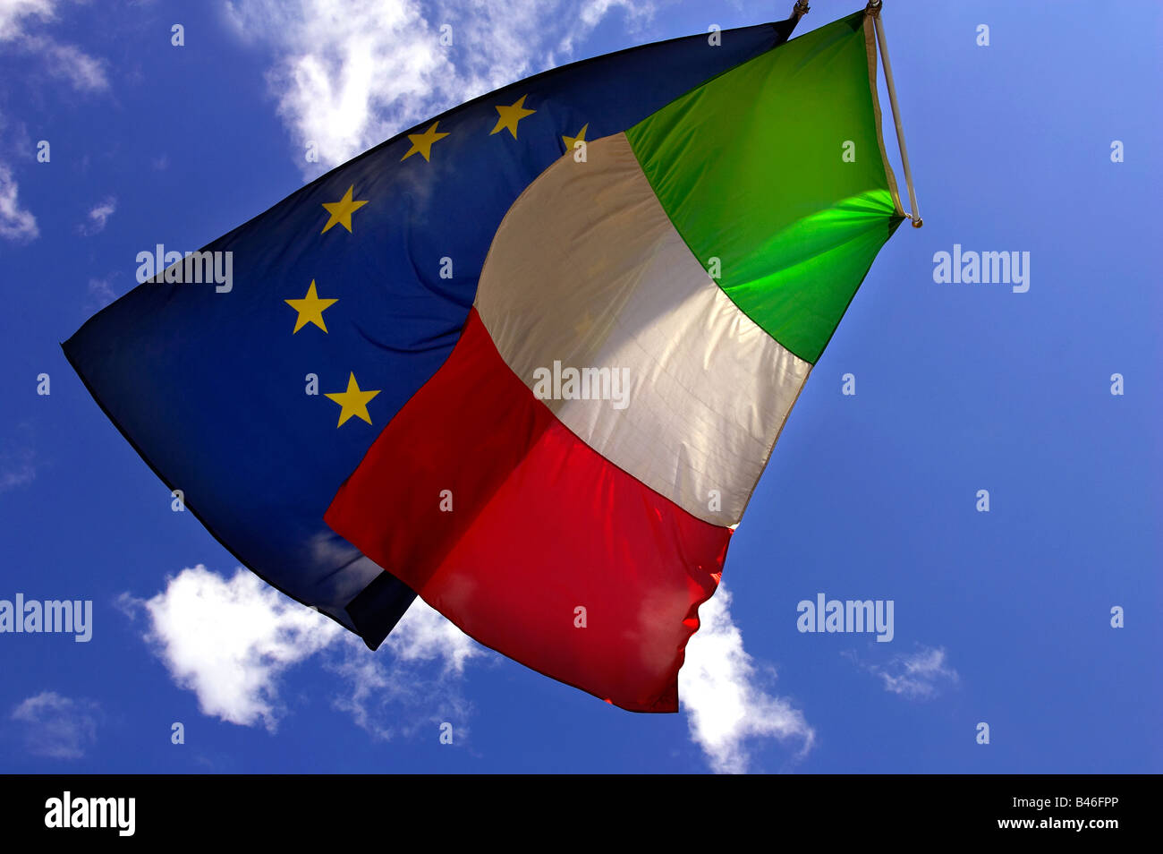The Italian and European Union flags - Stock Image