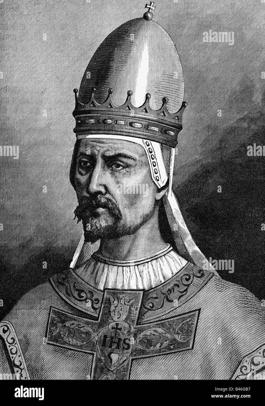 Gregory VII (Hildebrand of Sovana), circa 1020 - 25.5.1085, Pope  22.41073 - 25.5.1085, portrait, wood engraving, - Stock Image