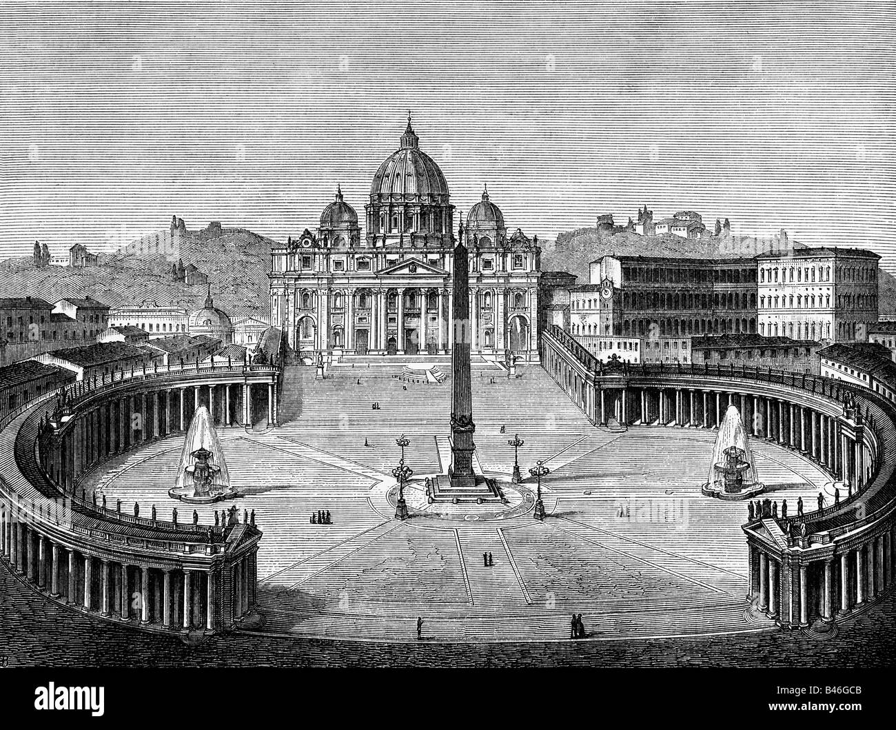 geography / travel, Italy, Rome, Vatican, Saint Peter's Square and St Peter's cathedral, exterior view, - Stock Image