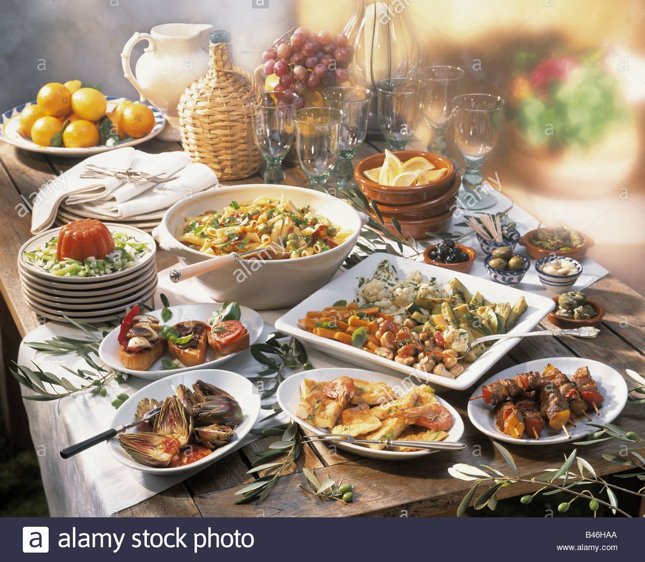 Italian Party Buffet On A Rustic Wooden Table