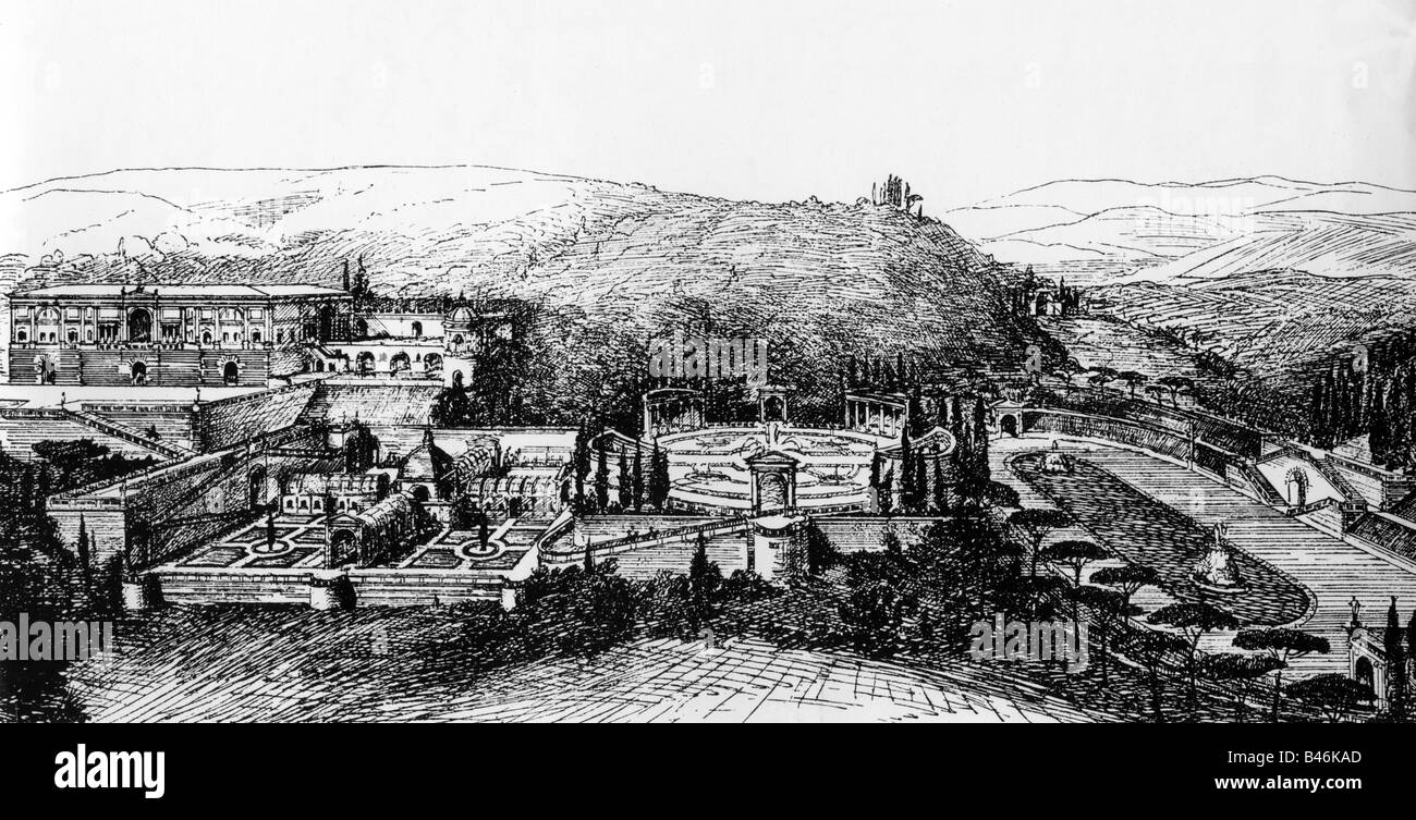 architecture, designs, garden of Villa Madam, design by Raffael, 1516, Additional-Rights-Clearances-NA - Stock Image