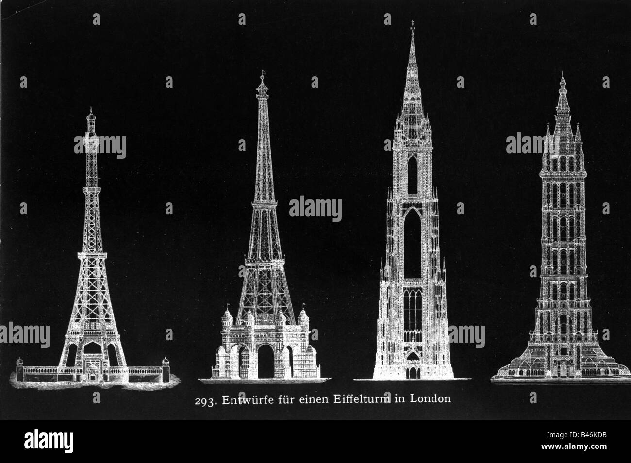 architecture, designs, Eiffel Tower in London, 19th century, design, not realized, Great Britain, historic, historical, - Stock Image