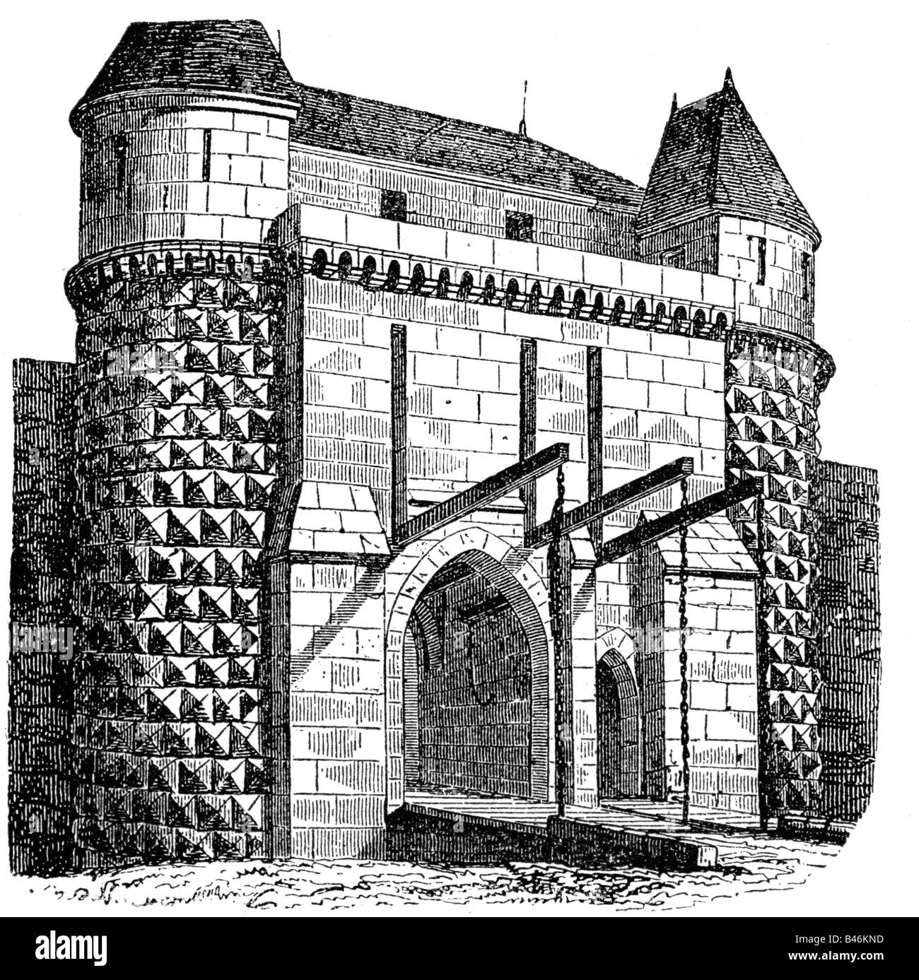 Architecture Castles Detail Gate Exterior Side Wood Engraving 19th Century Castle Middle Ages Draw Bridge Historic Hi