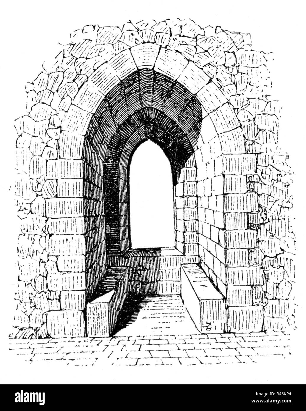 Architecture Castles Detail Seats At A Window Wood Engraving 19th Century Castle Middle Ages Gothic Historic Historica