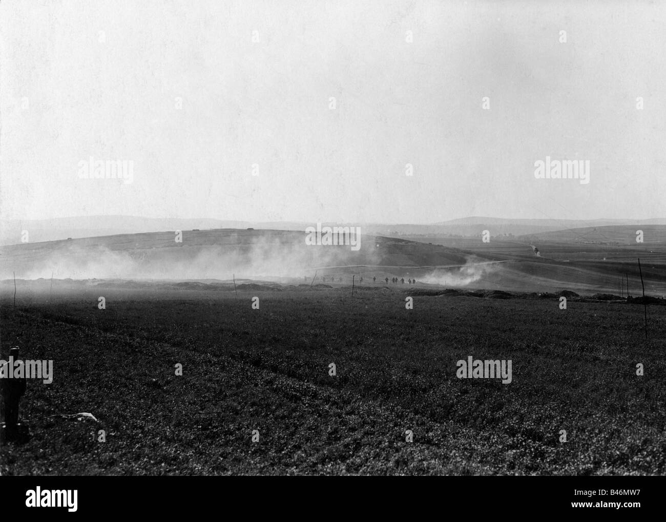 events, First World War / WWI, Western Front, advancing German stormtroops, France, 1918, Additional-Rights-Clearances - Stock Image