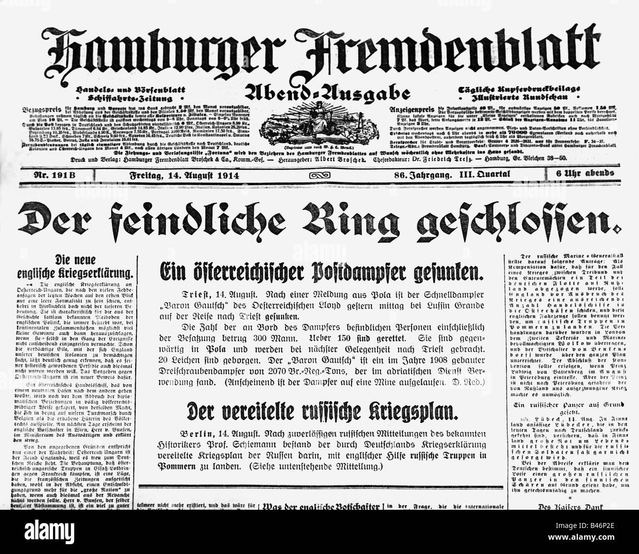 press / media, journals / magazines, Hamburger Fremdenblatt, evening edition, volume 86, No. 191 B, 14.8.1914, report - Stock Image