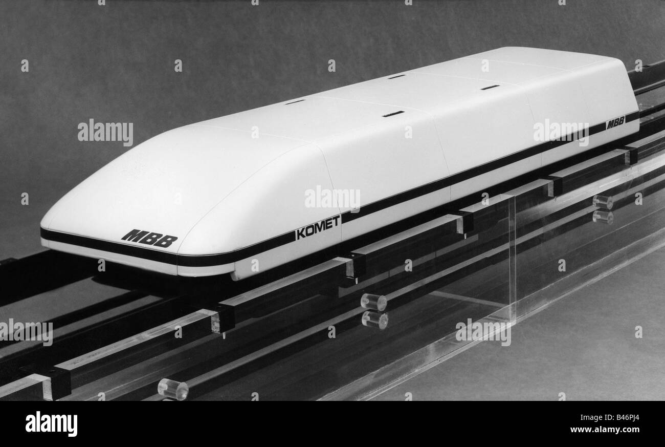 transport / transportation, railway, Transrapid, experimental component test vehicle with magnetic suspension and - Stock Image