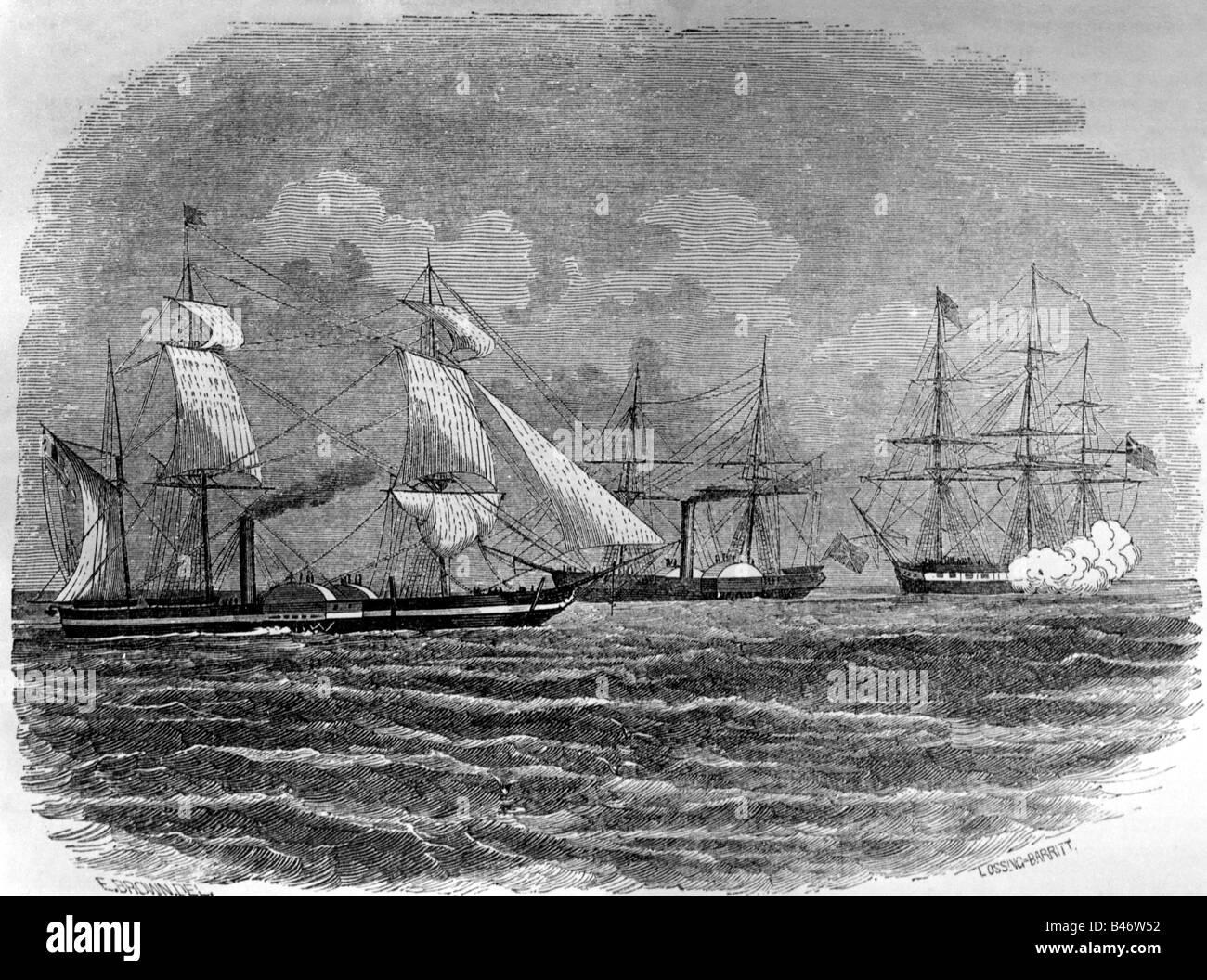 transport / transportation, navigation, warships, USA, USS 'Mississippi', commissioned 1841, sunk 1863, - Stock Image