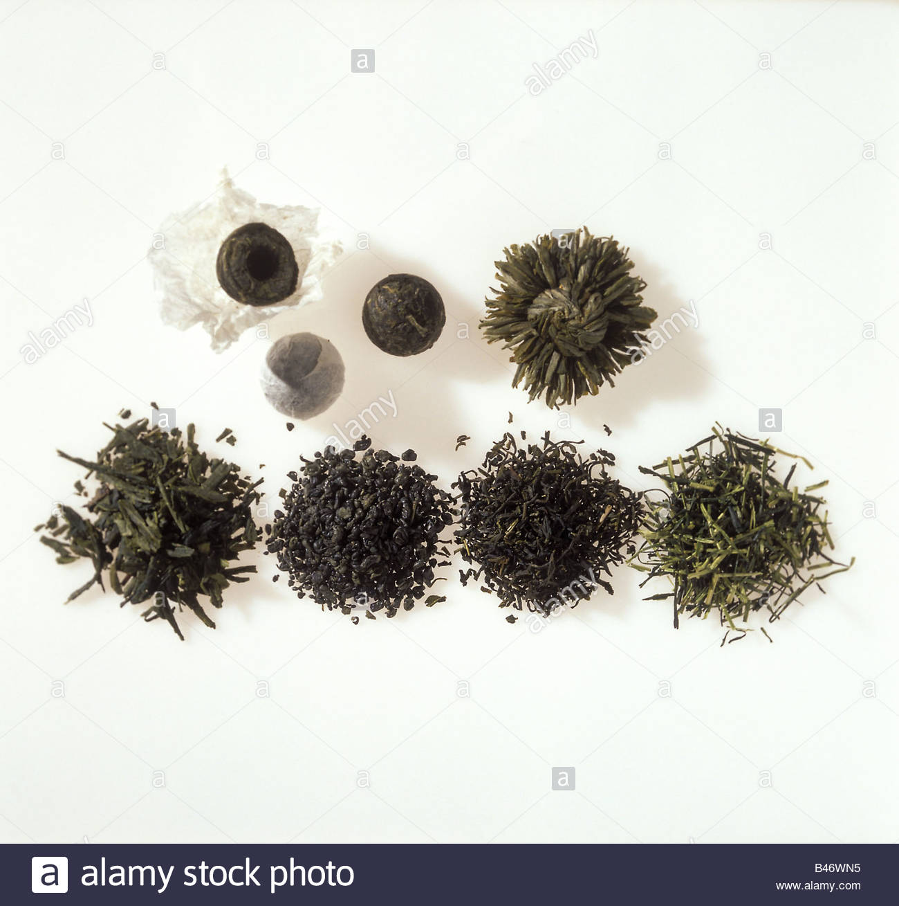 Green Tea Various Types Of Tea Leaves Stock Photo 19820897 Alamy
