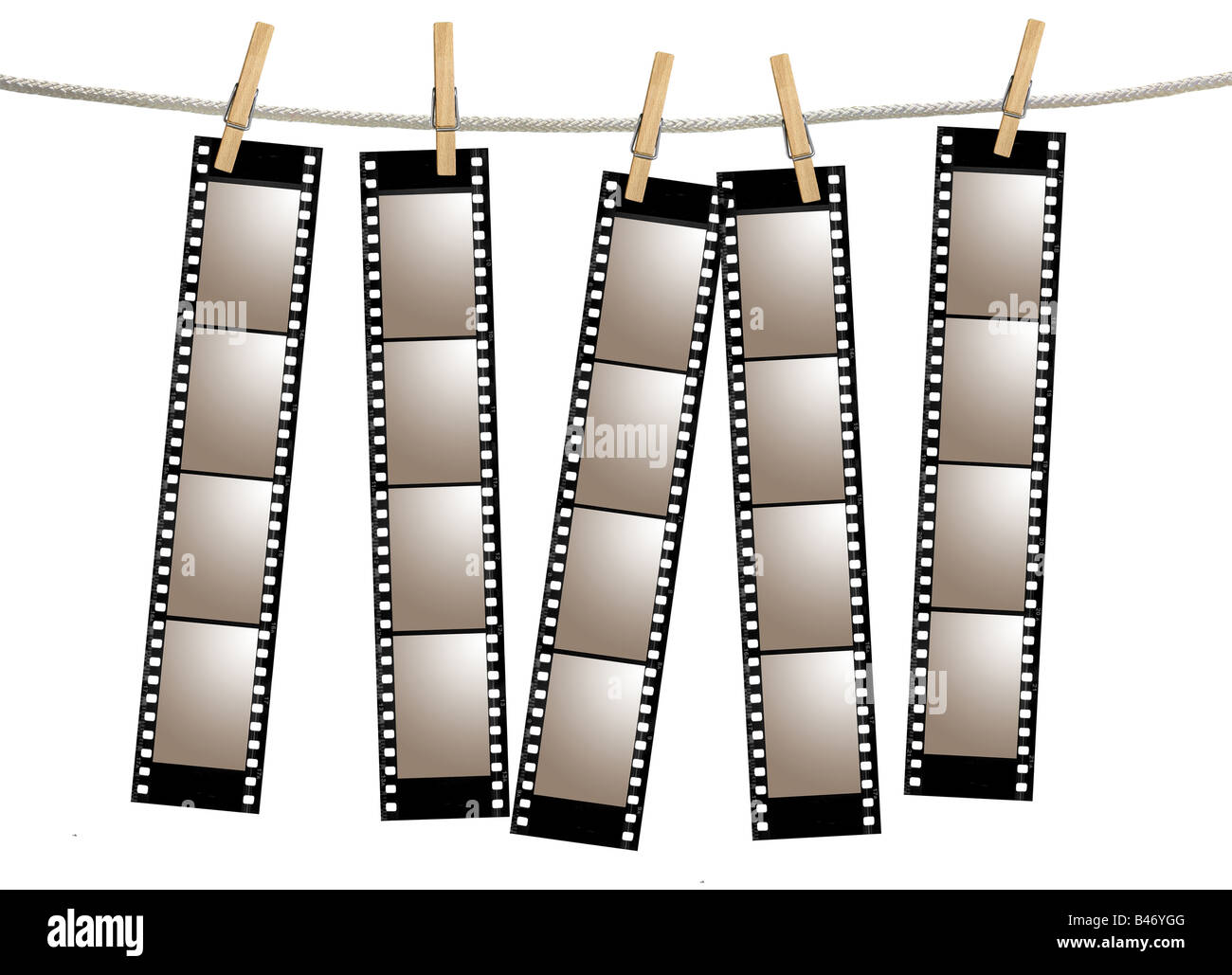 Blank 35mm film strip negatives hanging from a rope by - Clipart cinema gratuit ...
